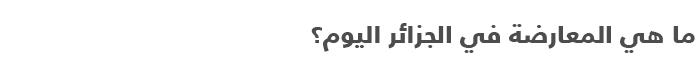السياسة في الجزائر .. دليل مبسط للتعرف على السياسة في الجزائر - المعارضة