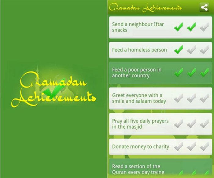 افضل تطبيقات رمضان - انجازات رمضان
