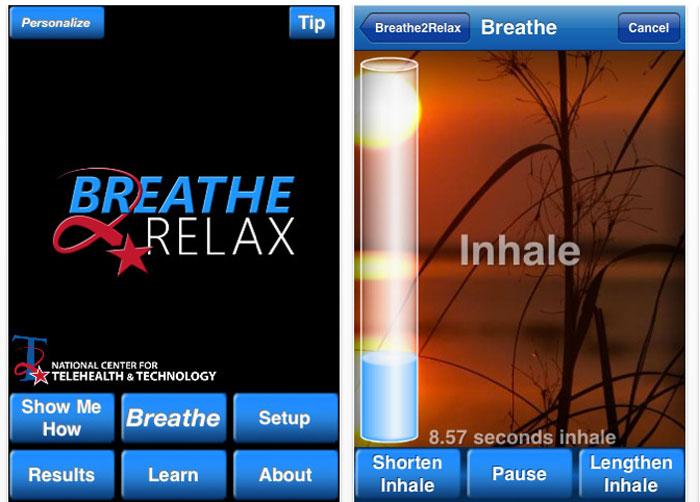 افضل التطبيقات المجانية للسيطرة على التوتر - Breathe 2 Relax
