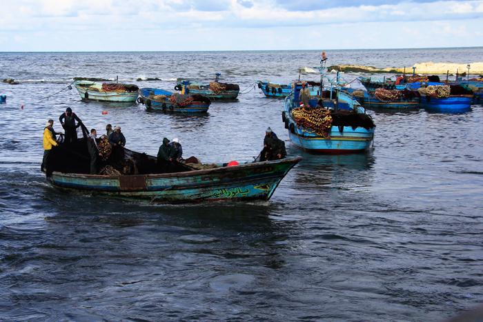 حي المكس في الإسكندرية - مراكب صيد السمك في البحر