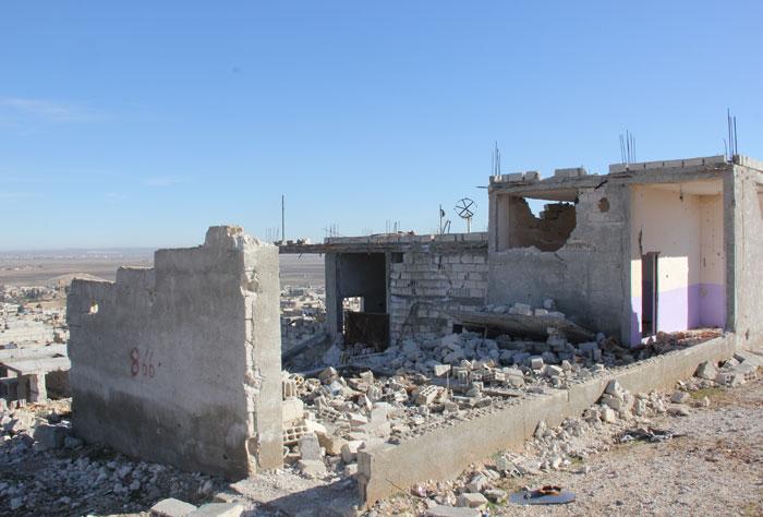 كوباني - منازل مهدمة