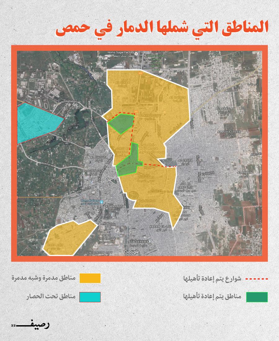 التغيير الديموغرافي في حمص وحقيقة المخطط - مناطق الدمار