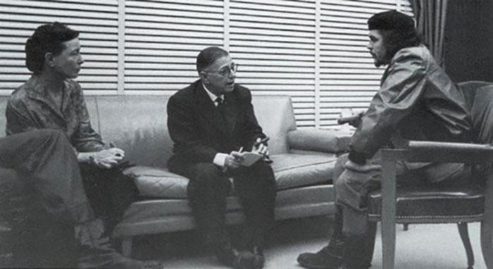 جان-بول-سارتر-وسيمون-دى-بوفوار-يلتقيان-تشى-جيفارا-في-كوبا-1960