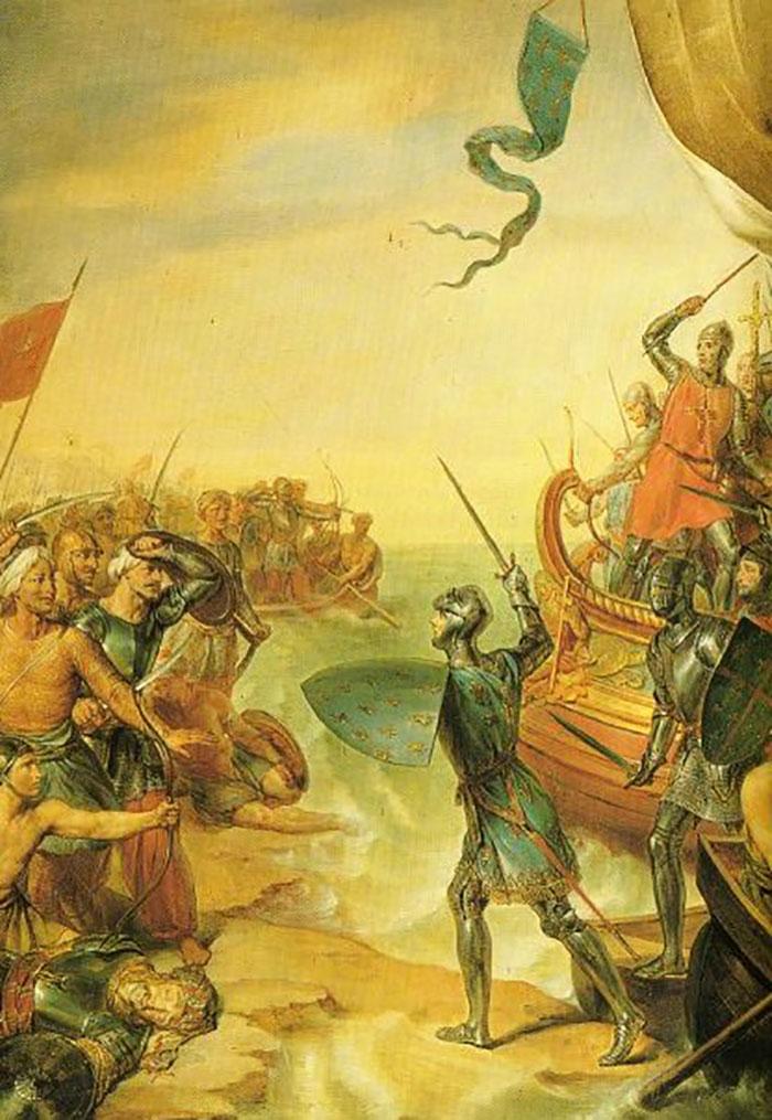 كيف سارت الحملات الصليبية على المشرق الإسلامي؟ Louis_disembark_at_Damietta-Masri