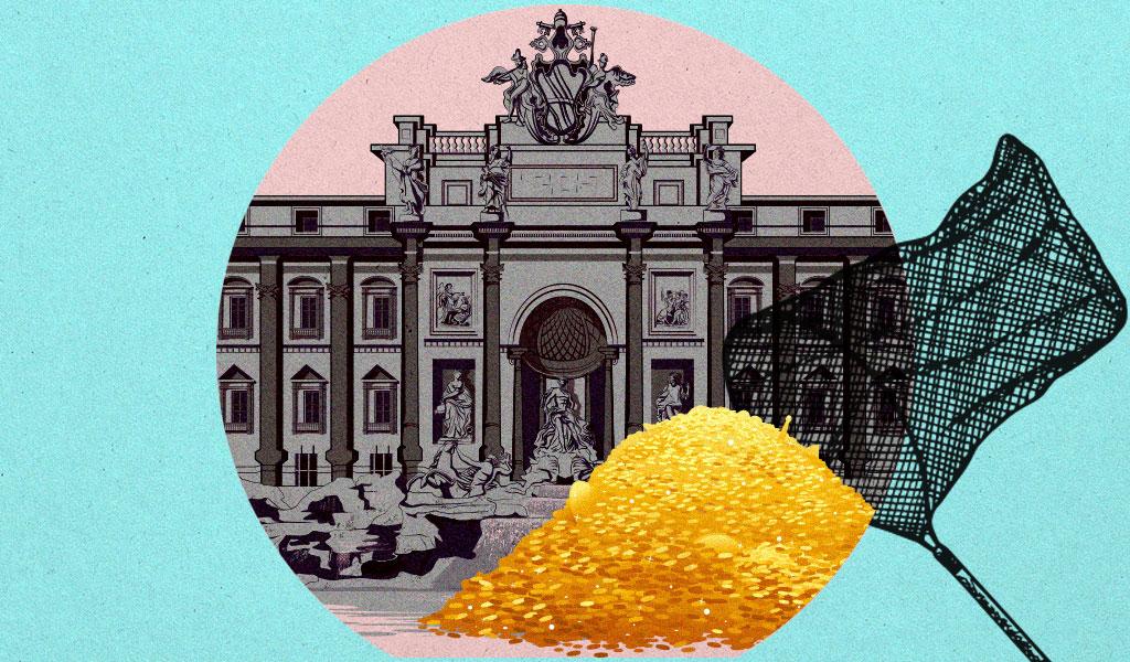 """منافسة حامية الوطيس بين بلدية روما والكنيسة علىنقود نافورة """"تريفي"""""""