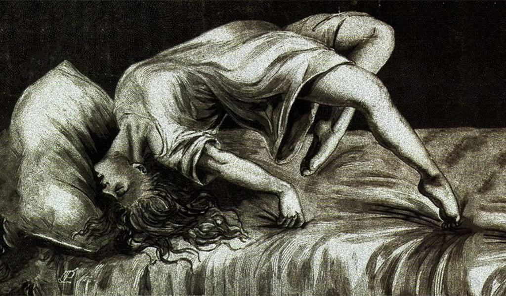 """""""قوس الدائرة"""": المرأة التي لا تدرك ما يحصل، """"غائبة الوعي""""، الشبقيّة، المحمولة على رأسها وقدميها"""